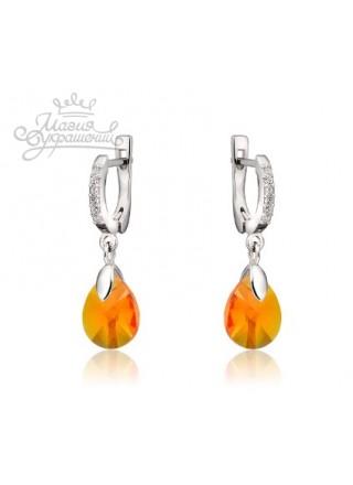 Серьги с янтарными Swarovski Tangerine