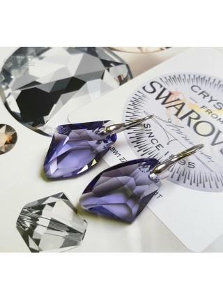 Серьги c Крупными Фиолетовыми кристаллами Swarovski