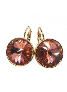 Серьги с круглым персиковым кристаллом Swarovski
