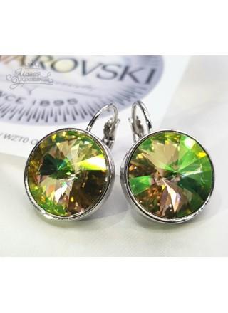 Серьги с круглым кристаллом Swarovski Luminous Green