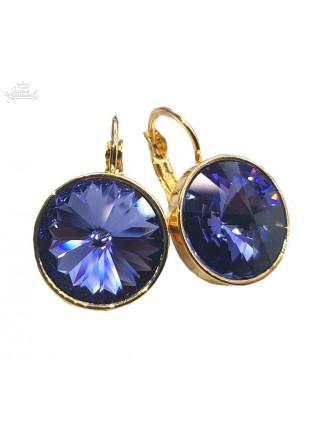 Серьги с круглым фиолетовым кристаллом Swarovski