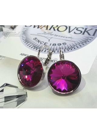 Серьги с круглым малиновым кристаллом Swarovski