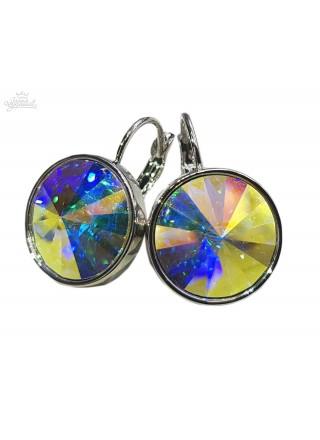 Серьги с круглым кристаллом Swarovski Aurore Boreale