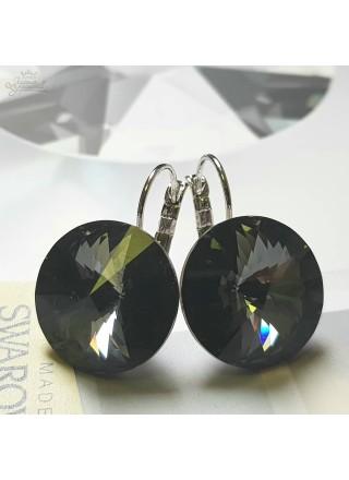 Серьги с крупным кристаллом Swarovski Silver Night 18 мм