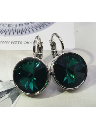 Серьги с круглым кристаллом Swarovski Emerald