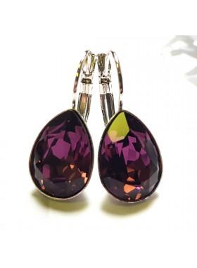 Серьги Капля аметистовыми кристаллами Swarovski