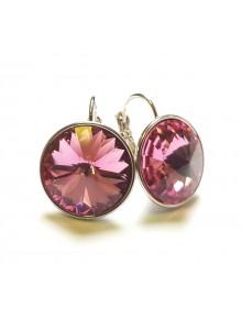 Серьги с круглым розовым кристаллом Swar