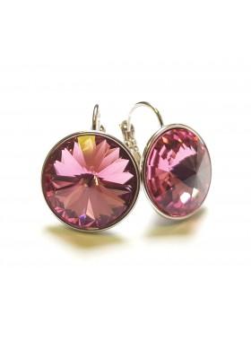 Серьги с круглым розовым кристаллом Swarovski Rose