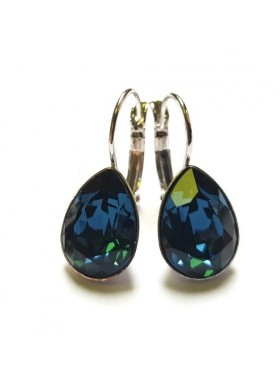 Серьги Капля синими кристаллами Swarovski