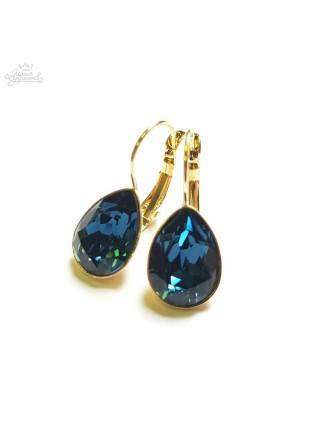 Серьги Капля синими кристаллами Сваровски