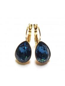 Серьги Капля синими кристаллами Сваровск