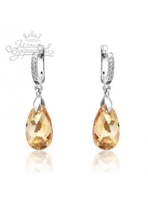 Серьги с Golden Shadow кристаллом Swarovski ангийская застежка