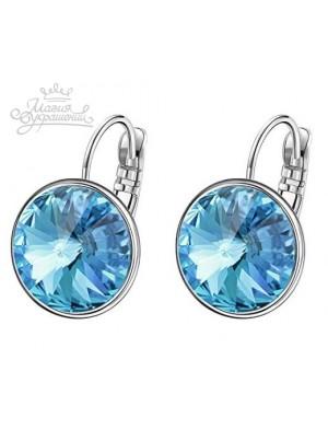 Серьги с круглым голубым кристаллом Swarovski Aquamarine