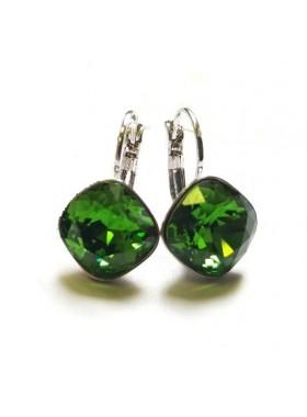 Серьги Ромбы зеленые с кристаллами Swarovski