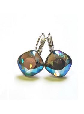 Серьги Ромбы мультиколор с кристаллами Swarovski
