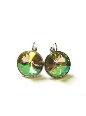 Серьги с круглым кристаллом Swarovski Luminous Green 14 мм