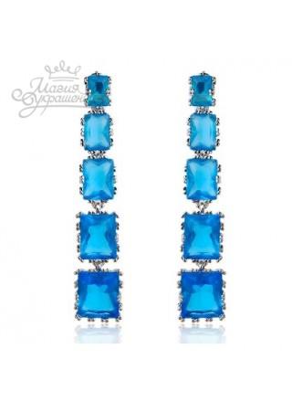 Серьги Каскад голубых камней