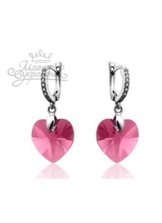 Серьги Сердце Любви с розовыми Swarovski