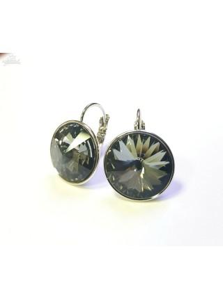 Серьги с круглым кристаллом Swarovski Silver Night