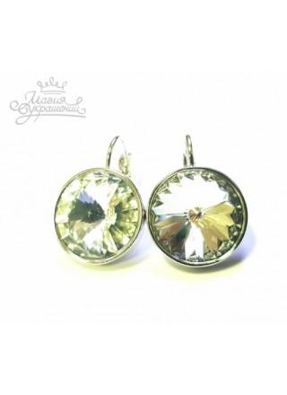 Серьги с круглым кристаллом Swarovski Crystal 14 мм