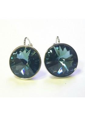 Серьги с круглым кристаллом Swarovski Montana