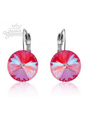 Серьги популярные с кристаллами Swarovski Royal Red Delite