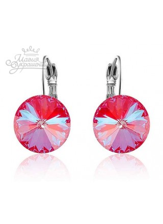 Серьги популярные с кристаллами Swarovski Royal Red Delite