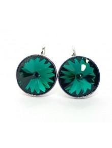 Серьги с круглым зеленым кристаллом Swar