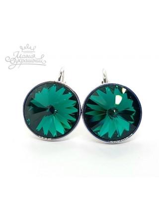 Серьги с круглым зеленым кристаллом Swarovski Emerald