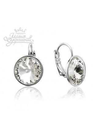 Серьги с круглым белым кристаллом Swarovski Clear