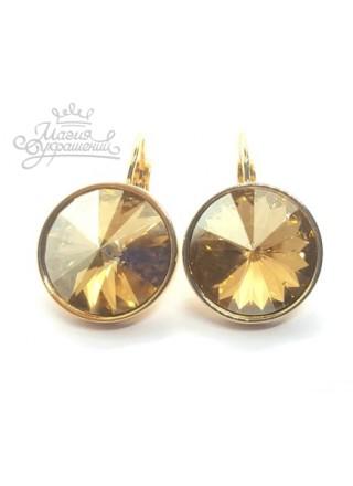 Серьги с круглым кристаллом Swarovski Golden Shadow
