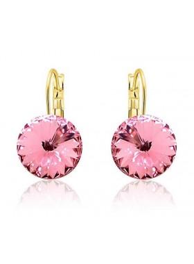 Серьги популярные с розовыми кристаллами Swarovski Light Rose
