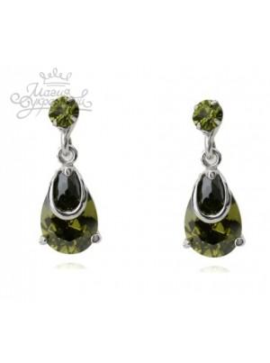 Серьги Дождинки оливковые