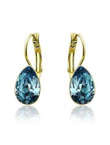 Серьги Капля с голубыми кристаллами Свар