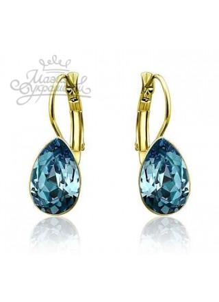 Серьги Капля с голубыми кристаллами Сваровски
