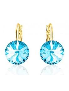 Серьги популярные с голубыми кристаллами