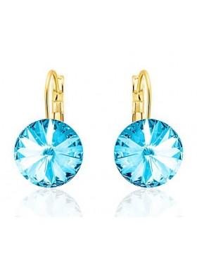 Серьги популярные с голубыми кристаллами Сваровски