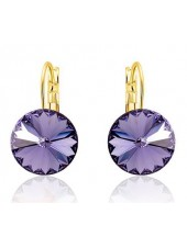 Серьги популярные с фиолетовыми кристаллами Сваровски