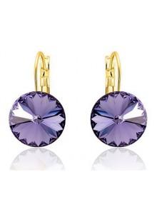 Серьги популярные с фиолетовыми кристалл
