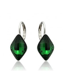 Серьги Комета с зеленым кристаллом Swaro