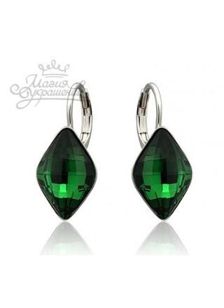 Серьги Комета с зеленым кристаллом Swarovski