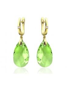 Серьги светло-зеленые с кристаллами Swar