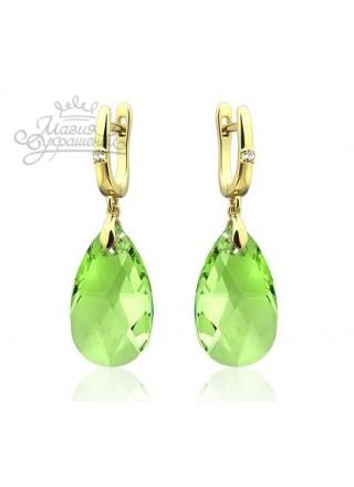 Серьги светло-зеленые с кристаллами Swarovski