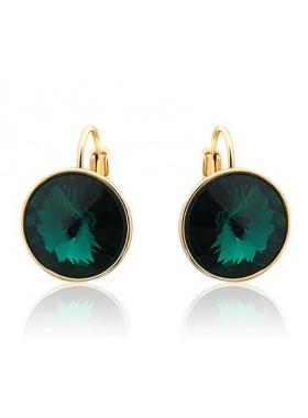Серьги с круглым темно-зеленым Swarovski Emerald