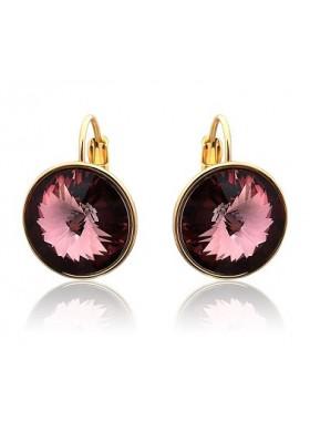 Серьги с круглыми кристаллами Swarovski цвета Бордо