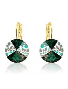 Серьги со Swarovski Emerald Silver Patin