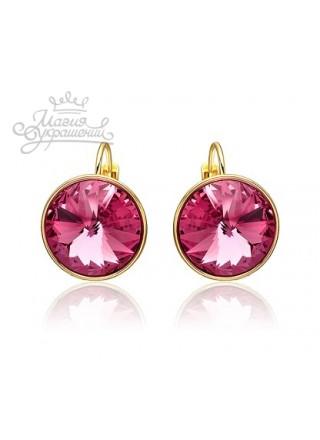 Серьги с круглыми розовыми кристаллами Swarovski