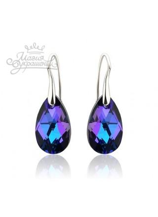 Серьги Миндалевидные с сине-фиолетовыми Сваровски Heliotrop