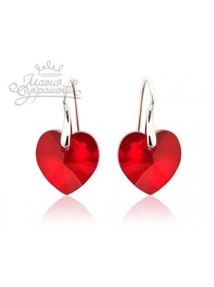 Серьги Сердце с красными кристаллами Swarovski