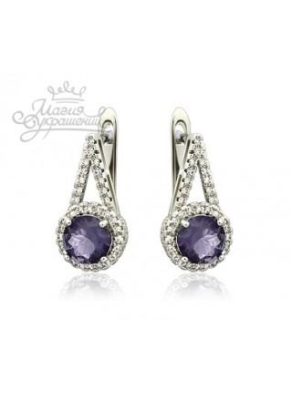 Серьги с фиолетовыми камнями и английской застежкой